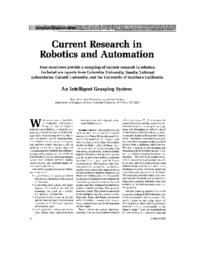 Current research in robotics and automation: An intelligent