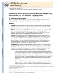 thumnail for Klitzman_Institutional Review Board Community Members,.pdf
