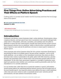 thumnail for FirstThingsFirst_OnlineAdvertisingPracticesandTheirEffectsonPlatformSpeech_KnightFirstAmendmentInstitute.pdf