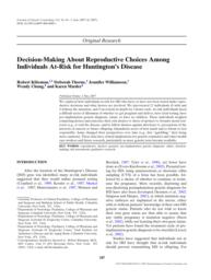 thumnail for Klitzman_Decision‐Making About Reproductive Choices Among Individuals At‐Risk for HD.pdf