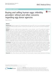 thumnail for Klitzman_Buying and Selling Human Eggs_Infertility Providers_ Ethical and Other Concerns Regarding Egg Donor Agencies.pdf