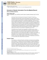 thumnail for Klitzman_Exclusion of Genetic Information From the Medical Record.pdf