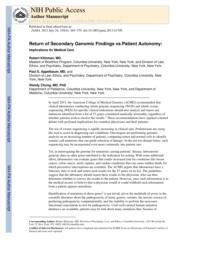 thumnail for Klitzman_Return of Secondary Genomic Findings vs Patient Autonom_ Implications for Medical Care.pdf