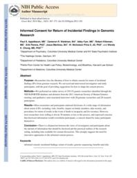 thumnail for Klitzman_Informed Consent for Return of IFs in Genomic Research.pdf