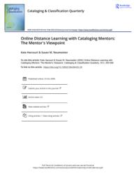 thumnail for Online Distance Learning with Cataloging Mentors The Mentor s Viewpoint.pdf