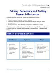 thumnail for Primary, Secondary and Tertiary Research Resources.pdf
