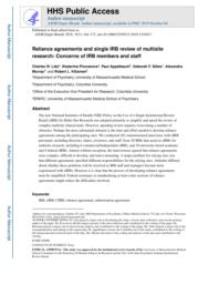 thumnail for Klitzman_Reliance Agreements and Single IRB Review of Multisite Research.pdf