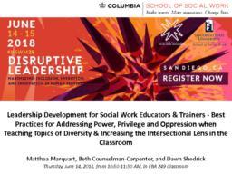 thumnail for Marquart_Counselman Carpenter_Shedrick_NSWM Presentation 2018_Leadership Development_Best Practices for Addressing Power Privilege Oppression When Teaching Topics of Diversity.pdf