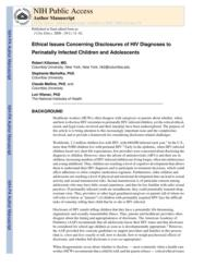 thumnail for Klitzman_Ethical Issues Concerning Disclosures of HIV Diagnoses to Perinatally Infected Children and Adolescents.pdf