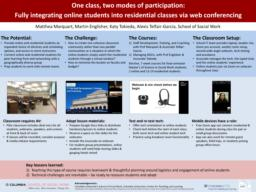 thumnail for Marquart Englisher Tokieda Telfair-Garcia_CTL poster 2018_Integrating online students into residential classes via web conferencing.pdf