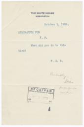 President Franklin Delano Rooselvet memo to Frances Perkins about Bailey's telegram
