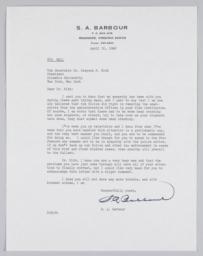 Letter from S.A. Barbour of Roanoke, VA to President Kirk