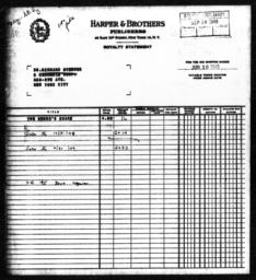 Royalty statement from Harper & Brothers to Richard Sterner for THE NEGRO'S SHARE, June 30, 1949