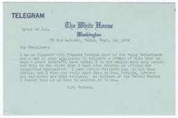 Bailey telegram to President Franklin Delano Roosevelt about Secretary of Labor Frances Perkins