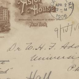 Astor House. Envelope
