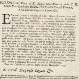 Editto Scipione del Titolo ...