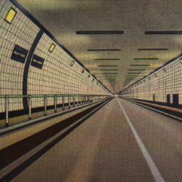 Interior of Holland Tunnel,...