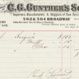 C. G. Gunther's Sons, Bill ...