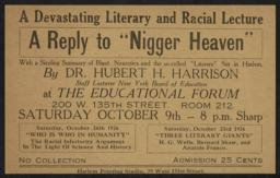 "Reply to ""Nigger Heaven,"" 10 September 1926 : broadside [Hubert H. Harrison lecturer]"