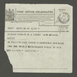 """Telegram from """"Diaghileur"""" to Nicolas Roerich"""