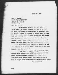 Letter from Florence Anderson to M. Swanton, April 29, 1943