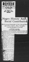 "Article by Beatrice Kelliher, ""Negro History And Social Contribution,"" NEW HAVEN REGISTER, November 4, 1943"