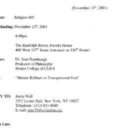Announcements, 2001-11-13. ...