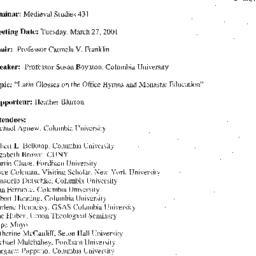 Announcements, 2001-03-27. ...