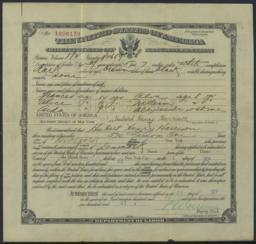 Certificate of naturalization for Hubert H. Harrison, 26 September 1922 : printed document signed