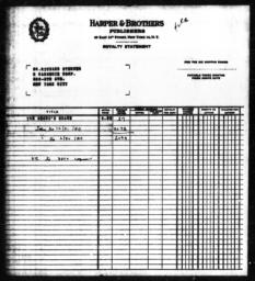 Royalty statement from Harper & Brothers to Richard Sterner for THE NEGRO'S SHARE, 1950