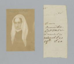 """Two Items: Portrait Inscribed """"Mazzini's Mother"""" with Scrap of Paper"""