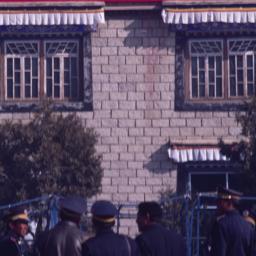 Red banner written in Tibet...