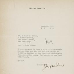 Letter from Irving Berlin t...