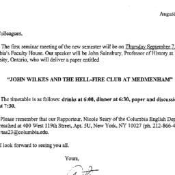 Announcements, 2000-09-07. ...