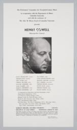 Performers' Committee for Twentieth- Century Music, Program for Henry Cowell Retrospective Concert, April, 1977