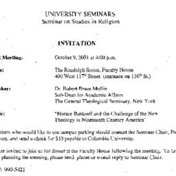 Announcements, 2001-10-09. ...