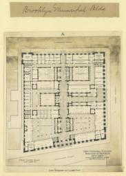 A. Low building on large plot. First floor plan. New Municipal Building, Borough of Brooklyn, New York. McKim, Mead & White, Arch'ts, 160 Fifth Ave., N. Y.