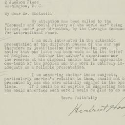 Typed letter signed to Jame...