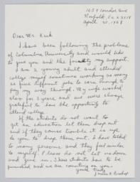 Letter to President Kirk from James K. Bishop