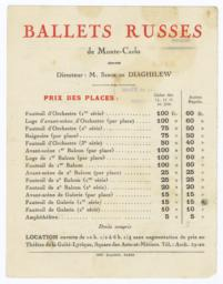 Ballets Russes de Monte-Carlo: Event Seating Price List