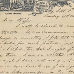 Astor House. Letter