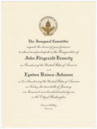 Invitation to the Inauguration of President Kennedy sent to Frances Perkins