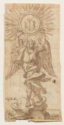 Angel Holding Aloft the Host with a Crucifixion Scene