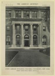 Avery Library Building, Columbia Unversity, New York. Messrs. McKim, Mead & White, Architects