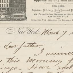 French's Hotel. Letter