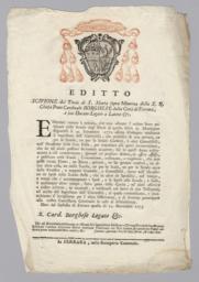 Editto Scipione del Titolo di S. Maria Sopra Minerva, della S.R. Chiesa Prete Cardinal Borghese della Città di Ferrara...