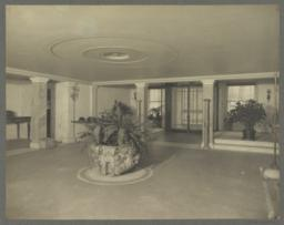 Entrance hall, basement, view of front door on Lexington Avenue as seen from foot of main staircase