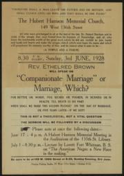 Hubert Harrison Memorial Church, 3 June 1928 : broadside