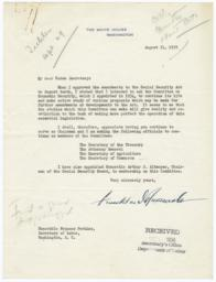 Letter from President Franklin Delano Roosevelt to Secretary of Labor Frances Perkins about the Committee on Economic Security