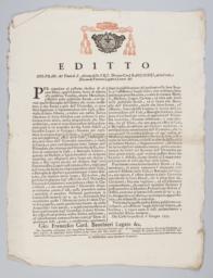 Editto Gio.Fran: del Titolo di S. Adriano della S.R.C. Diacono Card. Banchieri...